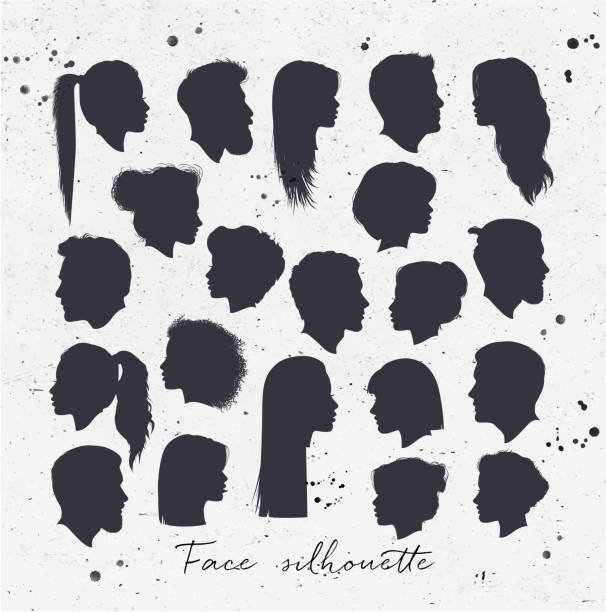 face silhouettes - female faces stock illustrations, clip art, cartoons, & icons