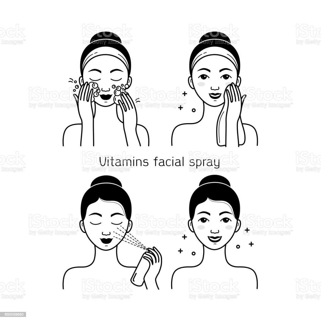 Face skin care vector set with girl vector art illustration
