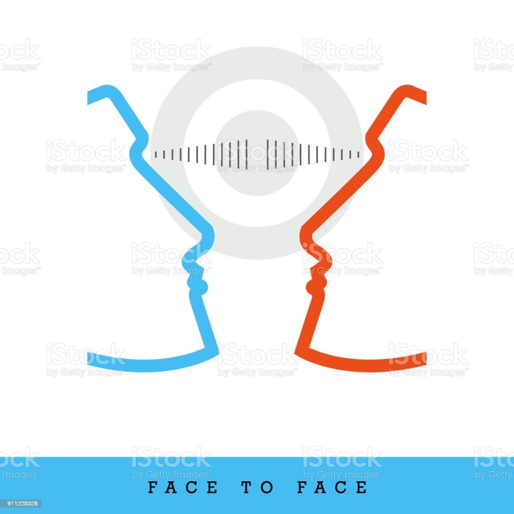 Face to Face, Dialogue, Common Goal Related Flat Style and Thin Line Icon, Vector Illustration vector art illustration