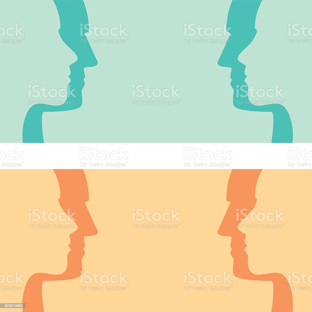 Face To Face Profiles vector art illustration