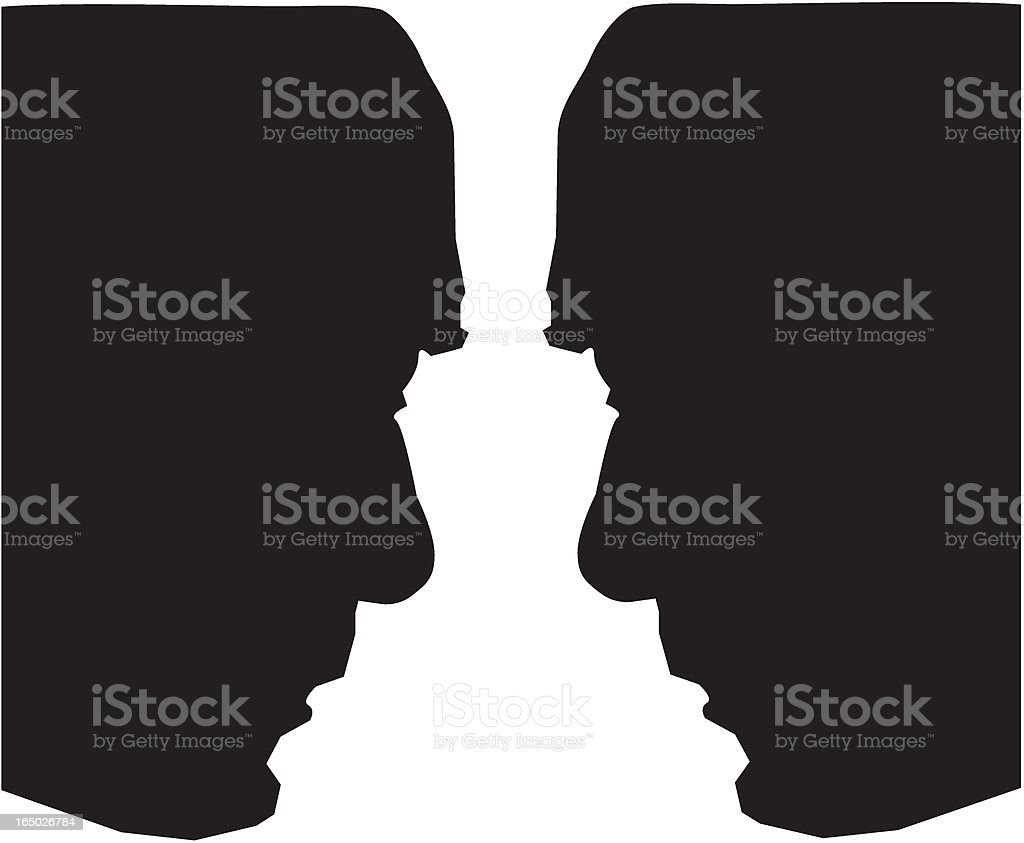 Face to face vector art illustration