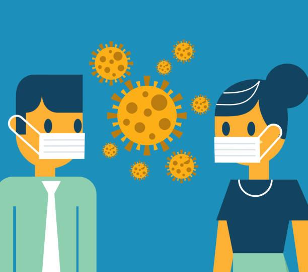face to face wearing masks vector art illustration