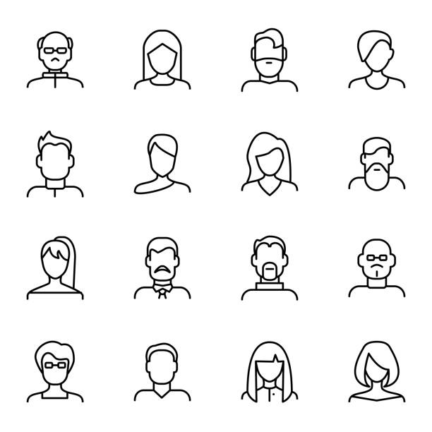 face various types signs black thin line icon set. vector - portrait stock illustrations