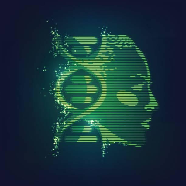 DNA Face vector art illustration