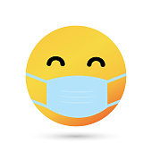 istock Face with Medical Mask cartoon bubble emoticons for social media chat comment 1217166773