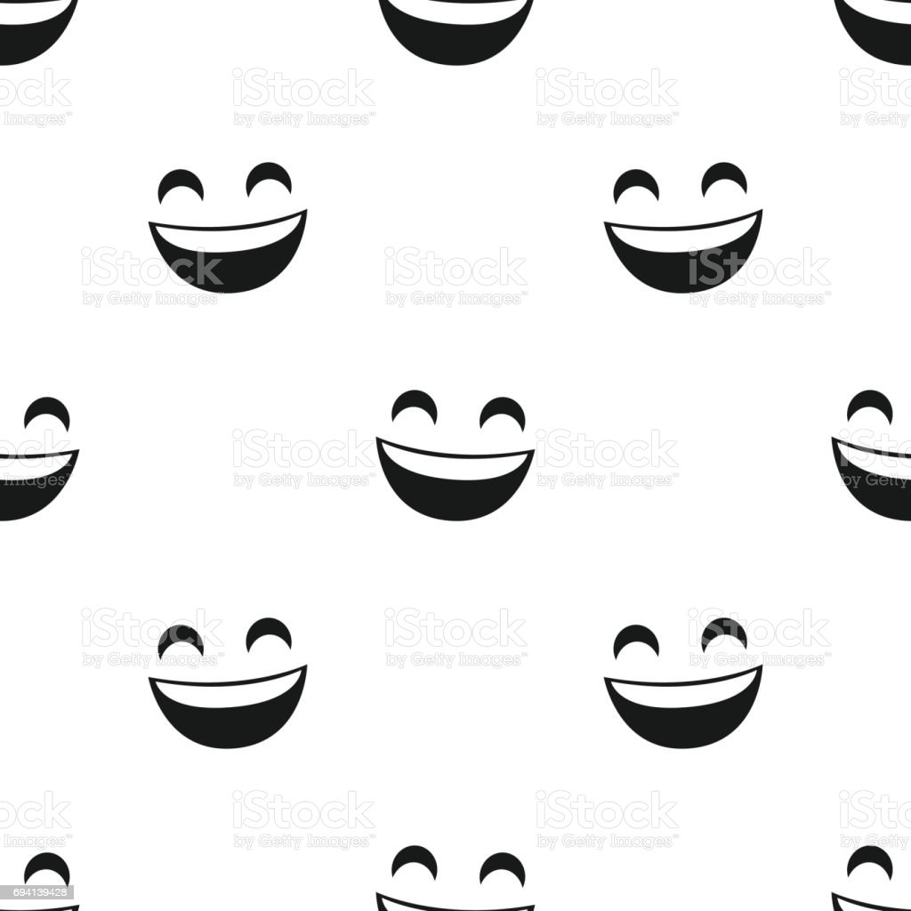 Face with smile. Seamless vector pattern vector art illustration