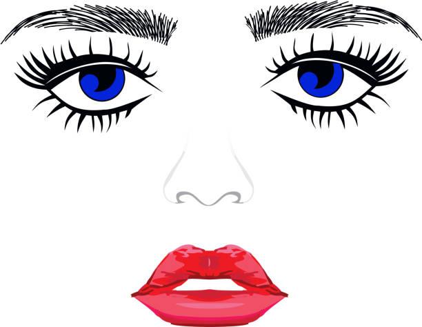 Face woman blue eyes full lips small nose vector art illustration