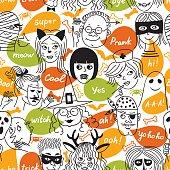 Men and women celebrate Halloween. People dressed in Halloween costumes. Seamless pattern.