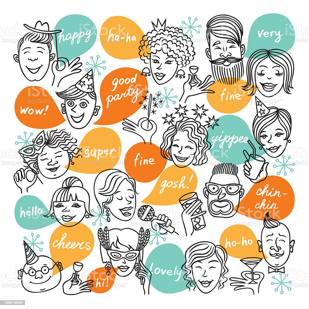 Face_party vector art illustration
