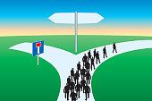 Concept de la voie sans issue montrant un chemin qui se sépare en deux directions et un groupe obligé de suivre un sens unique pour éviter de se retrouver dans une impasse.
