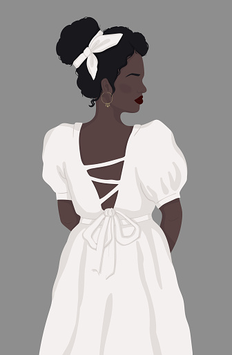 faceless black woman in white vintage dress with open back. vector isolated modern illustration. For poster, postcard, banner, book cover or magazine