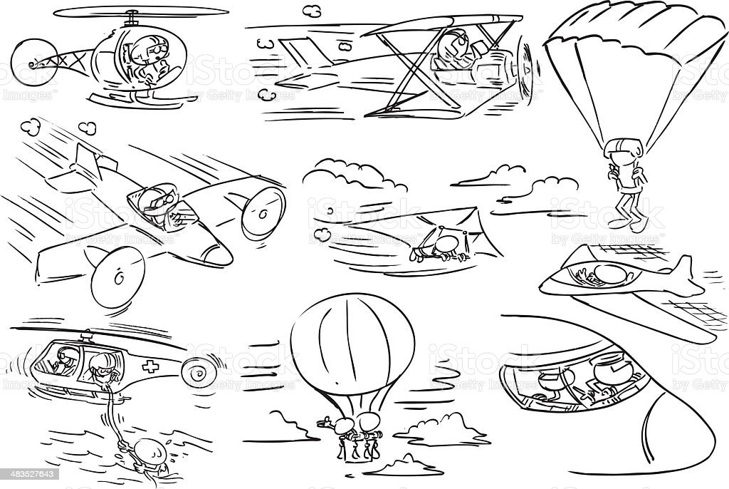 Faceless Character using aircraft vector art illustration