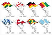 faceless character with flags