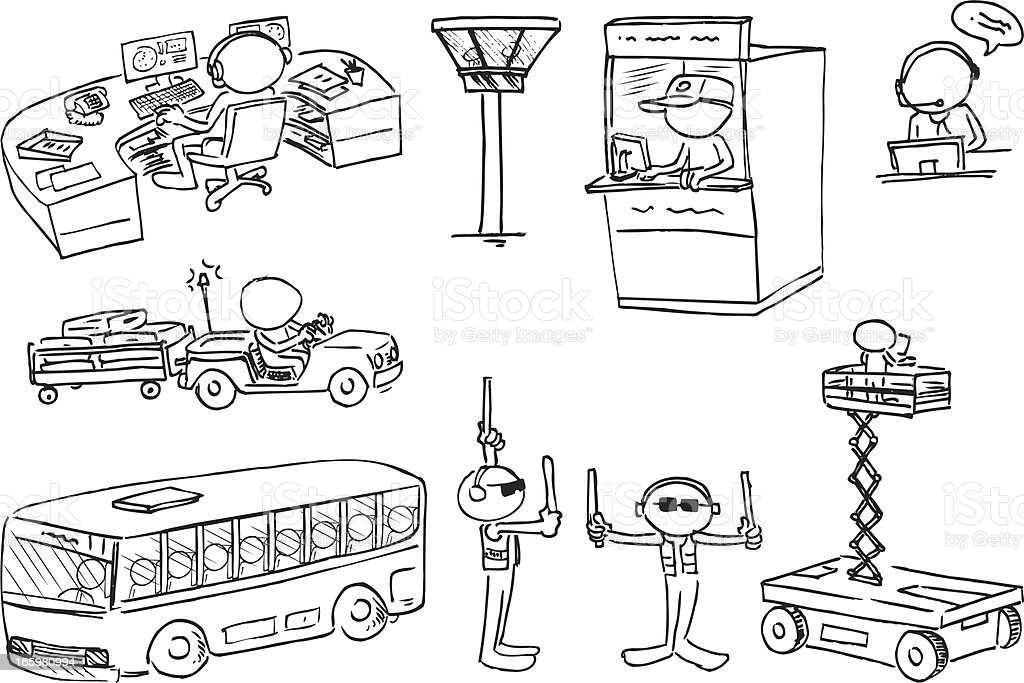 Faceless Characters Airport Staff vector art illustration