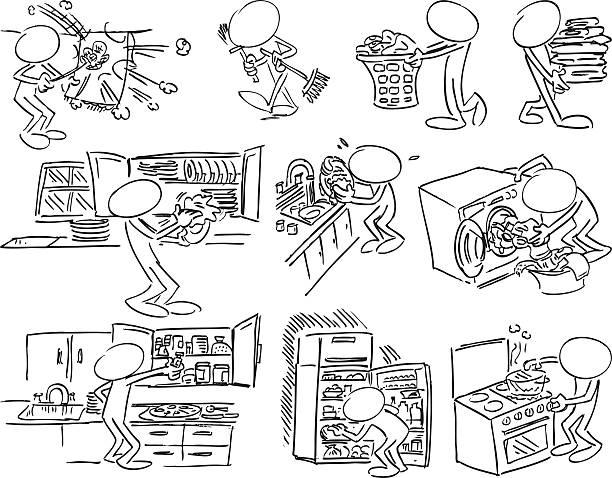 gesicht zeichen-house-wächter - schrankkorb stock-grafiken, -clipart, -cartoons und -symbole