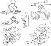 Faceless Characters Surfing