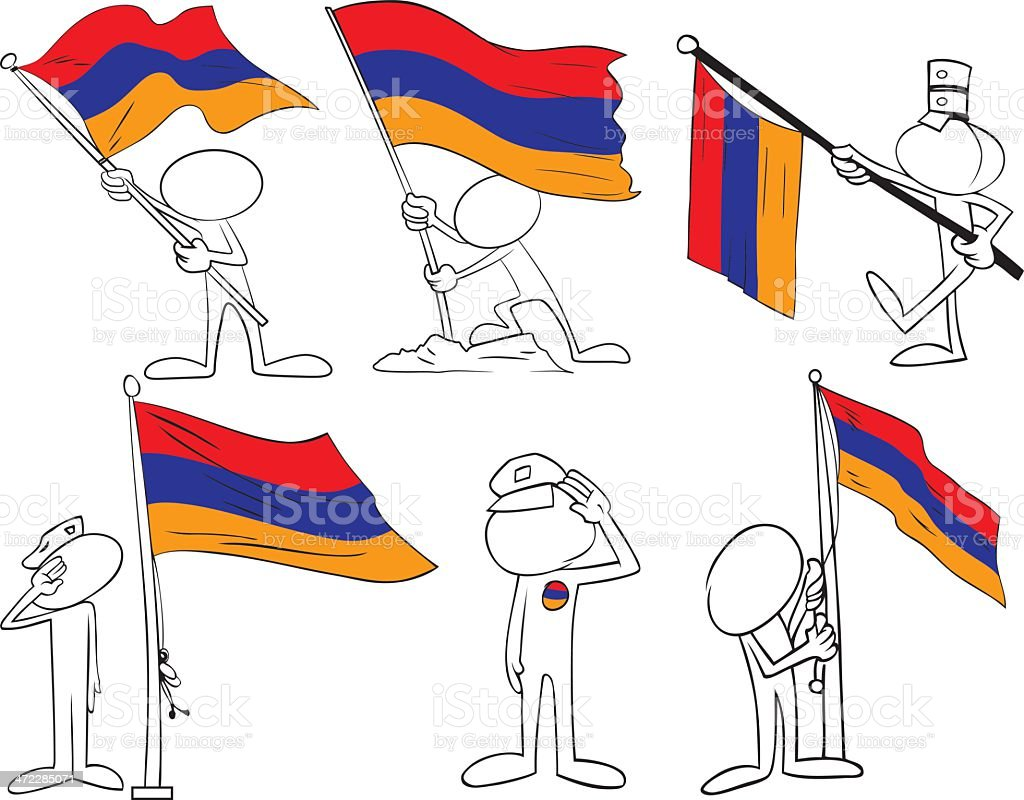 Faceless Characters with Armenia Flag royalty-free stock vector art