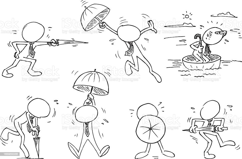 Faceless Characters with Umbrella royalty-free stock vector art