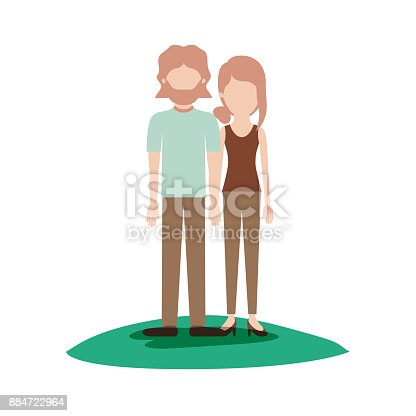 istock faceless couple colorful scene outdoor and both with t-shirt and pants and shoes and him with mid length hair and beard and her with collected hair and fringe 884722964