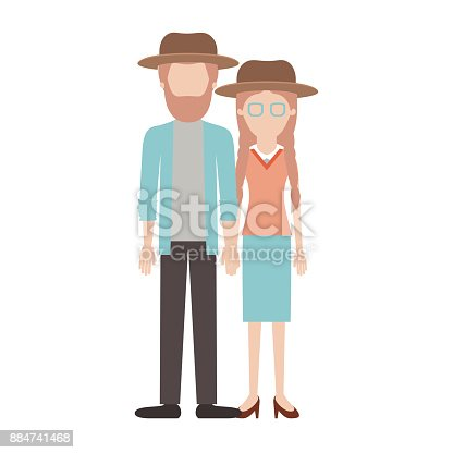 istock faceless couple colorful silhouette and both with hat and him with beard and shirt and jacket and pants and shoes and her with glasses blouse and skirt and heel shoes with braided hair 884741468