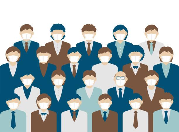 illustrazioni stock, clip art, cartoni animati e icone di tendenza di faceless crowd wearing mask vector banner illustration / pandemic, coronavirus (influenza , flu, hay fever etc.) prevention. - businessman covid mask