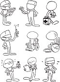 Character drawn in pencil and ink, illustrated to be in vector format, separate layers easy to use, suitable for many cartoons and animation purpose.
