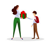 Faceless Woman Giving Present Box to Child Boy.