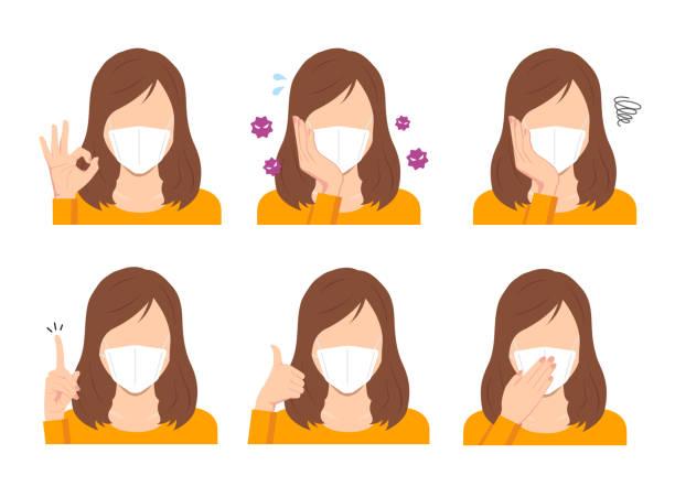 Faceless woman wearing a mask vector illustration (upper body) set / corona virus, covid-19 vector art illustration