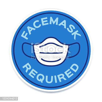 Facemask required circle badge symbol.