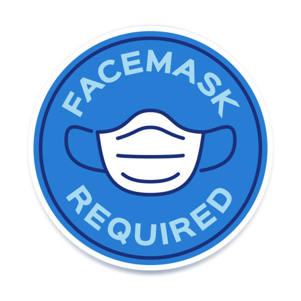 stockillustraties, clipart, cartoons en iconen met pictogram facemask vereist symbool - mondkapjes