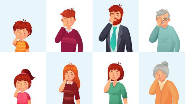 ilustraciones, imágenes clip art, dibujos animados e iconos de stock de gesto de facepalm. personas decepcionadas avergonzado caras, esconde la cara detrás de palma y vergüenza vector ilustración de dibujos animados gestos - física
