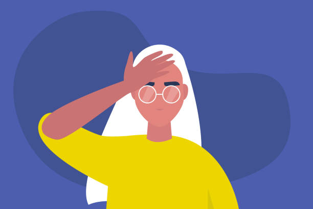 Facepalm gesture. Problem. Trouble. Young female character with a hand palm on a forehead. Conceptual flat editable vector illustration, clip art Facepalm gesture. Problem. Trouble. Young female character with a hand palm on a forehead. Conceptual flat editable vector illustration, clip art tired woman stock illustrations
