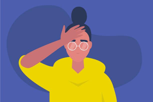 ilustraciones, imágenes clip art, dibujos animados e iconos de stock de gesto de facepalm. problema. problemas. personaje femenino joven con una palma de la mano en una frente. ilustración de vector completamente editable conceptual, arte del clip - física