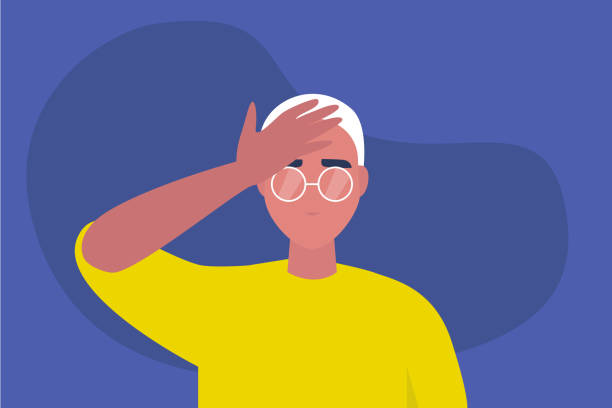 facepalm gesture. problem. trouble. young male character with a hand palm on a forehead. conceptual flat editable vector illustration, clip art - wine stock illustrations
