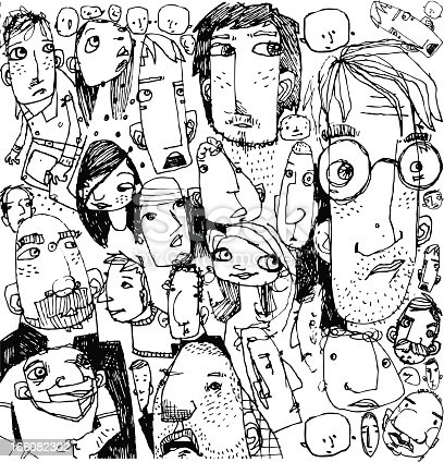 Many weirdo faces waiting arranged as a background just for you!