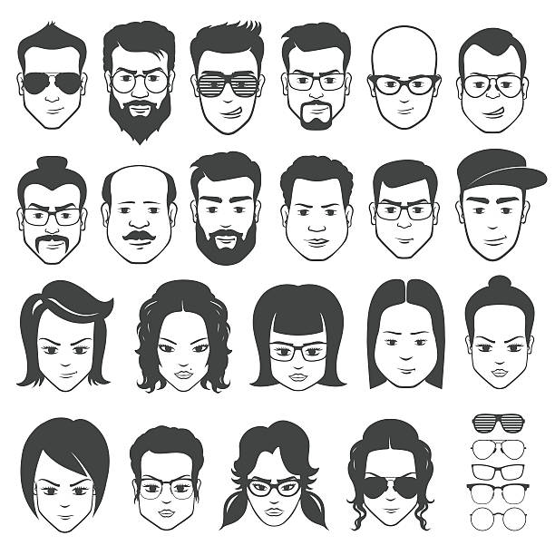 Faces constructor Faces constructor on white background in vector nerd hairstyles for girls stock illustrations