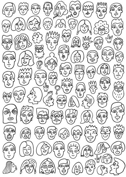 faces doodles set - old man crying stock illustrations, clip art, cartoons, & icons