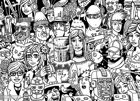 Hand-drawn cartoon faces doodles