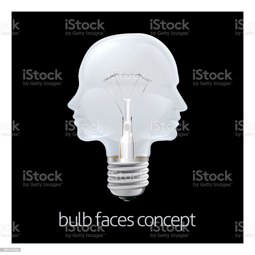 Faces Light Bulb Concept royalty-free faces light bulb concept stock illustration - download image now