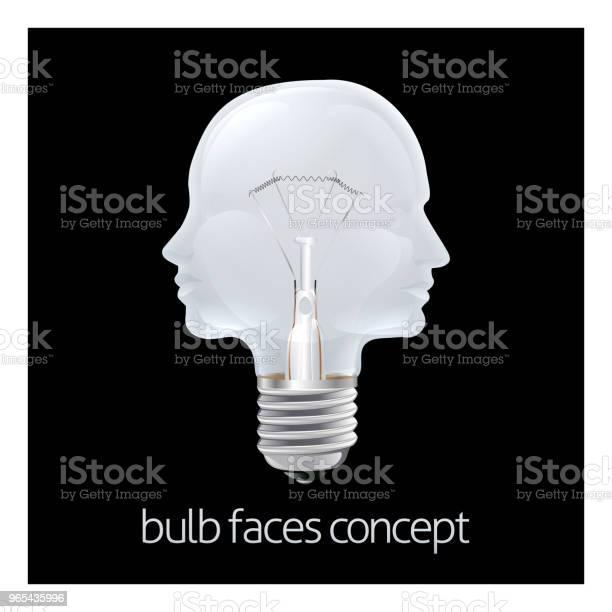 Twarze Żarówka Concept - Stockowe grafiki wektorowe i więcej obrazów Antropomorficzna twarz
