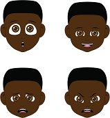 Vector Illustration - faces of boy. Easy to use!
