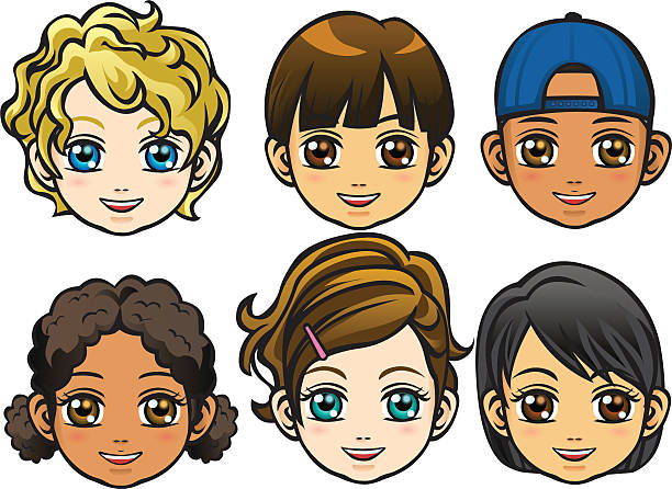 stockillustraties, clipart, cartoons en iconen met faces of children - blond curly hair