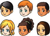 Vector Illustration - Faces of children (side view)