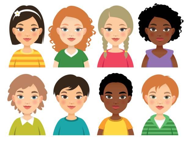 ilustraciones, imágenes clip art, dibujos animados e iconos de stock de rostros de los niños de la nación diversa - cabello negro