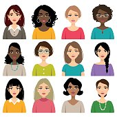 Set of faces of different nation, hair and skin color women isolated on a white background.