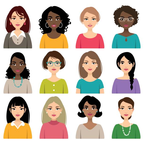 faces of different nation women - female faces stock illustrations, clip art, cartoons, & icons
