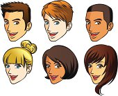 Vector Illustration - Faces of human (side view)
