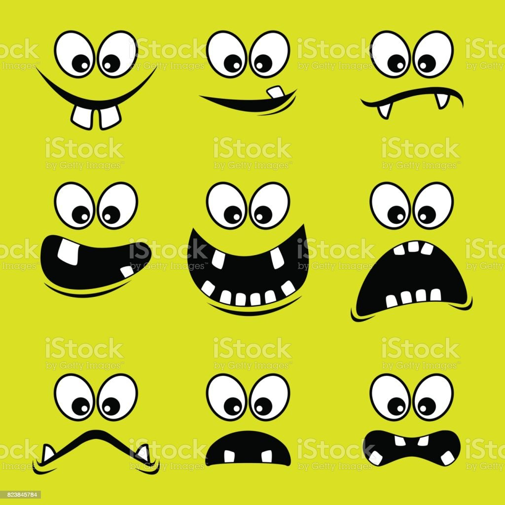 Visages de monstres sur fond vert - Illustration vectorielle