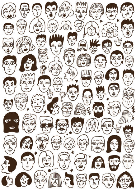 faces of people doodles - old man crying stock illustrations, clip art, cartoons, & icons