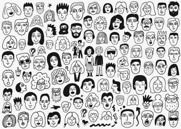 faces of people doodles faces of people - hand drawn doodle set happy family stock illustrations